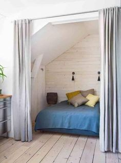 How to Achieve Total Darkness in the Bedroom (and Why It Matters) by Janet Hall. [Who wouldn't love to have this Curtained Bed From Skona Hem as a little sleeping nook that you could banish light from? Bed Nook, Bedroom Nook, Cozy Nook, Home Bedroom, Bedroom Decor, Alcove Bed, Bedrooms, Closet Bedroom, Small Space Living