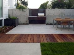 60 Concrete Patio Ideas - Unique Backyard Retreats Concrete Patios, Cement Patio, Concrete Wood, Concrete Backyard, Concrete Patio Designs, Pergola Patio, Backyard Patio, Pergola Ideas, Yard Landscaping