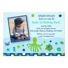 Under the Sea Pool Party Birthday Invitations