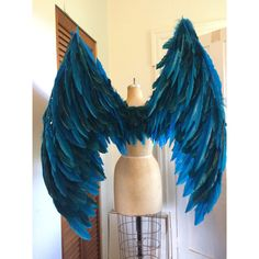 XL Maleficent costume Fairy Wings/ angel Bird ($450) ❤ liked on Polyvore featuring costumes, angel wing costume, fairy costume, angel halloween costume, blue halloween costumes and maleficent halloween costume