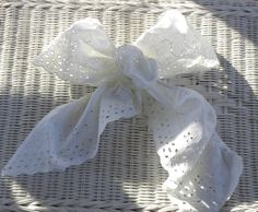 White Eyelet Lace Gift Bow Wedding Decoration package bow Large fabric bow