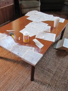 Sew Many Ways...: Coffee Table Makeover...Mod Podge Style. Decoupage coffee table with book pages. Brilliant idea!