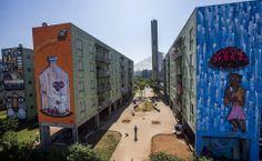 Grafiteiros transformam paredes de conjunto habitacional Parque do Gato, em SP.