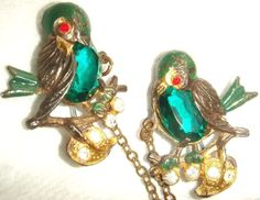 Antique Rhinestone and Enameled Birds Chatelaine Pins #Unbranded