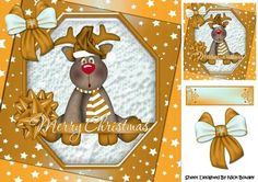 Lovely Reindeer with gold bow and stars 8x8 on Craftsuprint - Add To Basket!