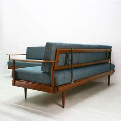 German Walnut Corner Sofa and Daybed from Knoll Antimott, for sale at Pamono Sofa Daybed, Couch, Wooden Sofa Designs, Sofa Sale, Corner Sofa, Wood Table, 1960s, Love Seat, Room