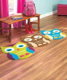 COLORFUL OWL SHAPED ACCENT RUG BED BATH PLAY ROOM DORM WHIMSY BIRD KID TWEEN NEW