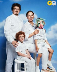 danny mcbride and maya rudolph recreate awkward family photos for GQ.