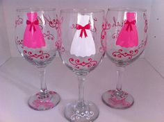 Set of EIGHT Personalized Wine Glasses Bride and Bridesmaid