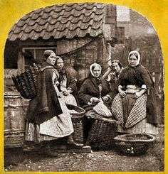 New Haven Fishwomen    Half of a 1860s Stereoview. Unknown photographer.