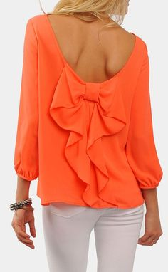 Coral bow back blouse