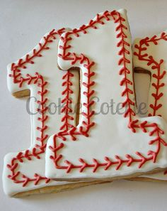 Baseball Cookies Large Number One Birthday by CookieCoterie