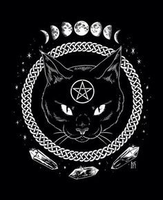 drawing Illustration Black and White moon Witch crystals witchcraft screenprint quartz Black Cat pentagram wiccan celtic wicca celtic knot Lunar Phases cat coen catcovenshop cat coven shop Wallpaper Gatos, Cat Wallpaper, Wallpaper Wallpapers, Mystic Wallpaper, Macbook Wallpaper, Trendy Wallpaper, Iphone Wallpapers, Le Wendigo, Wiccan Wallpaper