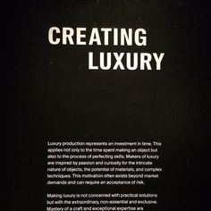 Great exhibition at the V&A museum, what is luxury in today's world? #thoughts #v&a #fascinating