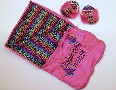 Build A Bear Sleeping Bag Pink Cheetah Leopard Print Matching Slippers BABW