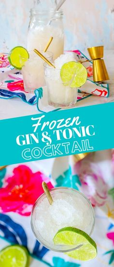 Easy Frozen Gin and Tonic Recipe - drinks #drinks Gin & Tonic Cocktails, Cocktail And Mocktail, Gin Cocktail Recipes, Gin And Tonic, Kid Drinks, Non Alcoholic Drinks, Party Drinks, Easy Drink Recipes, Smoothie Recipes