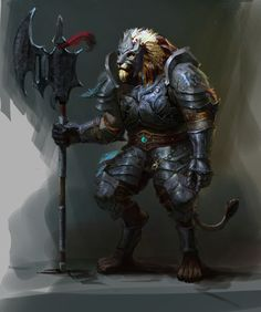 狂战士 Picture  (2d, fantasy, lion, creature, warrior)
