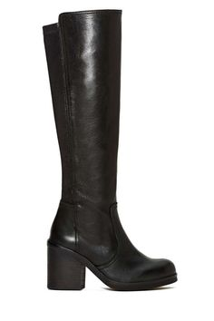 Need the perfect pair of knee-high boots for fall? These black leather beauties by Jeffrey Campbell are perfect for cool weather and have a rounded toe, zip closure at side, and stacked heel.