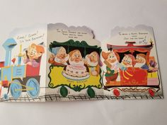 vintage greeting card Happy Birthday Seven Dwarfs Train Card Easter Messages, Easter Greeting Cards, Vintage Greeting Cards, Vintage Birthday Cards, Happy Birthday Cards, Birthday Greetings, Girls Bible, American Greetings, 1950s