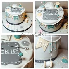 Shabby chic style sewing cake with hand made models.