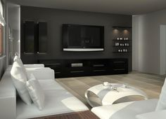 tv wall Living Room Redo, Condo Living, Home Living Room, Interior Design Living Room, Living Room Designs, Home Entertainment Centers, Decoration, Family Room, Fireplaces