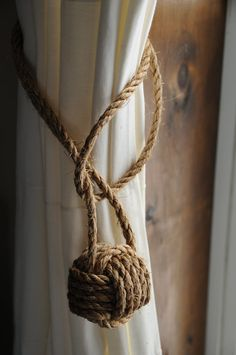 Nautical Curtain Tie Backs - Nautical Decor - Nautical Curtains - Rustic Tiebacks - Cottage Curtains - (this is for 2 knots)