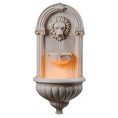 Classic Italian Florentine style with Lions head and arched facade makes this Regal Fountain a warm welcome to any outdoor space.   Kenroy Home Regal Indoor / Outdoor Wall Fountain 50026SS  $268