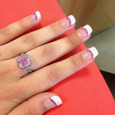 Pink sparkly French tip