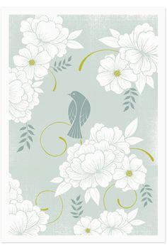 Bird & flower silkscreen poster print // Brad Surcey