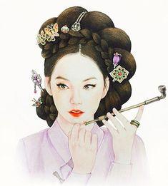 결론은 한복. 뭐 입힐지 고민될 땐 한복이 답 - #소희 #prisma #HanBok #한복 Korean Painting, Chinese Painting, Chinese Art, Korean Illustration, Illustration Art, Korean Art, Asian Art, Korean Traditional Clothes, Traditional Hairstyle