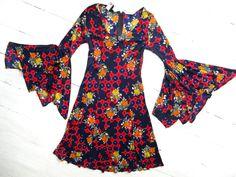 Vintage 60s 70s Bell bottom angel sleeve Mod Hippie by shmooozin, $82.00