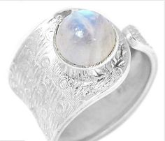 Rainbow Moonstone Wide Band Ring Sz 7. Starting at $1 on Tophatter.com!