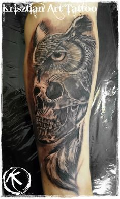 Krisztian Art Tattoo - Owl and skull
