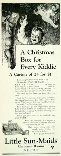 1923 Ad Vintage Little Sun Maid Christmas Raisins Box Sunmaid Stocking Children   eBay