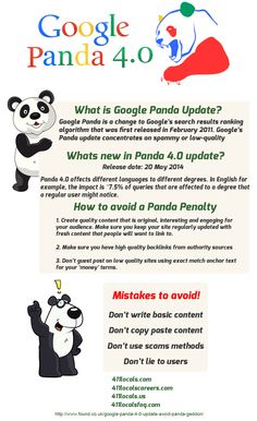 Panda is the Search algorithm of google recently new upadate 4.0 realeased.....