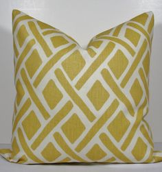 KRAVET  Yellow Geometric Trellis  Decorative pillow by WilmaLong, $45.00