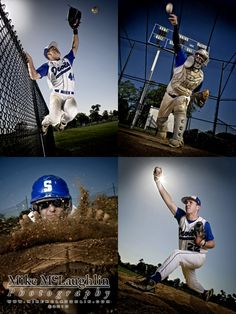 senior portrait ideas for baseball players | Clockwise from top left: Shore Regional High School Blue Devils Zach ...