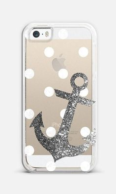 Glitter Anchor with dots in Silver iPhone 6 case by Nika Martinez