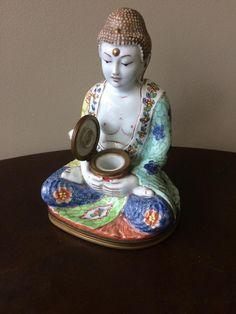 Bouddha Porcelaine Formant Encrier, Début 20ème, Maison Villette, Proantic