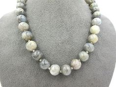 Large Chunky 12mm Labradorite Bead Necklace Choker Sterling Silver Ball Clasp