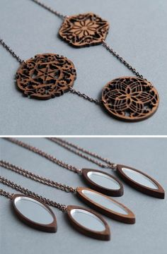 Mirrored laser cut necklaces #jewelry #jewellery #necklace