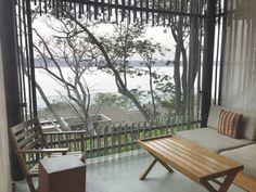 Bamboo-framed balcony