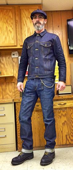 Brave Star Ironside 15oz Cone Mills selvage denim jacket, Edwin denim jeans, 1970's steel toe work boots, vintage USA made chain wallet, cheap ebay twill cap.