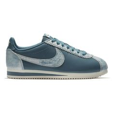 Women's Nike Classic Cortez Premium Sneaker ($100) ❤ liked on Polyvore featuring shoes, sneakers, leather footwear, real leather shoes, leather sneakers, leather trainers and genuine leather shoes