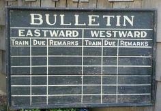 Antique train destination sign