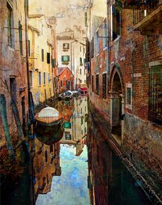 Exploring the back channel canals of Venice.