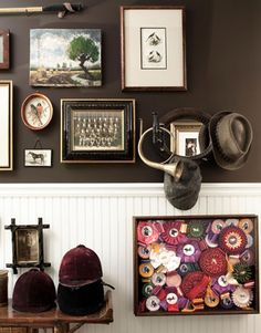 Gallery Wall... An idea for displaying my vintage horse ribbons.