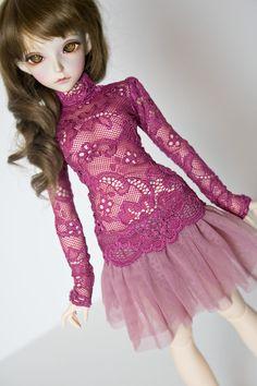 Lace shirt for slim Mini Super Dollfie MNF Minifee Volks by kalcia