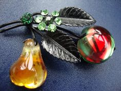 Vintage Austria Glass Fruit Double GlossyGreen Apple And Pear Pin Brooch Excelle #Nobrand