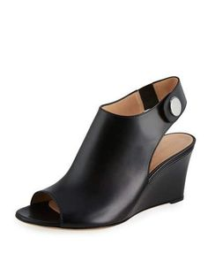 GIANVITO ROSSI LEATHER SLINGBACK WEDGE SANDAL, BLACK. #gianvitorossi #shoes #pumps
